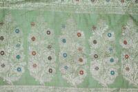 Vintage Indian 100% Pure Silk Sari Zari Embroidered Border Decor Saree Decor
