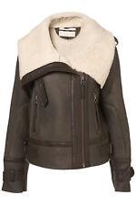 BNWT TOPSHOP Genuine Sheepskin Leather Flying Aviator Pilot Biker Jacket UK14 42
