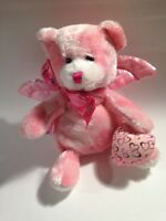 "DanDee Pink Heart Bear w/ Wings PLUSH DOLL 8"" TALL  Stuffed Animal"