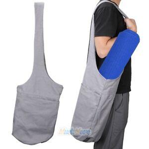Portable Gray Canvas Yoga Mat Bag Shoulder Storage Case with Zipper Pocket NEW