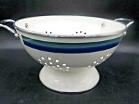 Pfaltzgraff Ocean Breeze Enamel on Steel Colander Kitchen Strainer Blue & Green