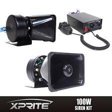 100W 12V 7 Tones Loud Speaker PA Horn Siren System Mic Kit Police Car Fire Truck