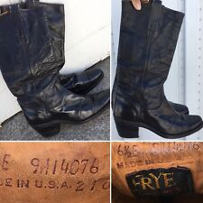 Vintage Frye Cowboy Boots 6 1/2 E 9M14076 Made In Usa 2180 Black Leather