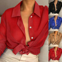 Womens V Neck See Through Tee Tops Long Sleeve Blouse Buttons Loose Ladies Shirt