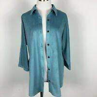Coldwater Creek M Medium Blouse Shirt Button Up Blue 3/4 Sleeve Textured Stretch