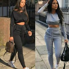 NEW Womens Co ord Crop Top Bottoms Set Ladies 2pcs Loungewear Suit Tracksuit
