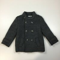 ZARA KNITWEAR Kids Unisex Sz 5T Dark Gray Fleece Lining Wool Blend Coat Jacket