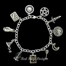 ~ WITCH, WITCHCRAFT, WICCAN, MAGIC BOOK OF SHADOWS LOCKET THEMED CHARM BRACELET~
