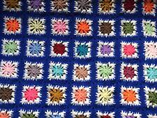 """Vintage GRANNY SQUARE Handmade Crochet Afghan Throw  Blanket  42 X  71"""" + Fringe"""