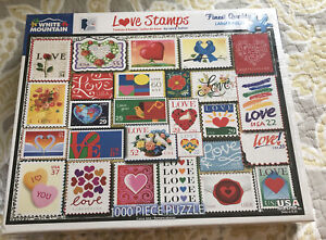BRAND NEW WHITE MOUNTAIN PUZZLE LOVE STAMPS 1000 PIECE SEALED fast shipping