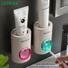 Automatic Toothpaste Dispenser Dust-Proof Toothbrush Holder Wheat Straw Wall Mou