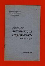 CR66-GUIDE-PISTOLET AUTOMATIQUE BROWNING-CALIBRE 7,65-BELGIQUE-1922