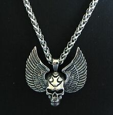 Pendant Skull&wings + Big Chain Length: 60cm Ø5mm Everything Stainless Steel