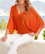 Gorgeous Boston Proper Sequin Kimono Orange Sweater Top, M 10-12, NEW