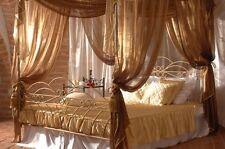 Himmelbett Doppelbett metall Bett Wiking mit Baldachin + Lattenrost, Handarbeit!