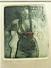"""Beads"" David Bumbeck Aquatint Etching Nude Post Modern American Artist"