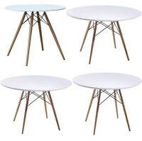 "29"" 36"" 42"" 48"" Round Eiffel White Table Fiberglass Top Wood Dowel Legs"