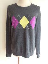 Sutton Cashmere Crewneck Sweater Gray w/ Magenta & Yellow Argyle Size M