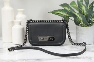 Coach (57446) Swagger Glove-Tanned Black Leather Shoulder Crossbody Bag Handbag