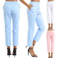 Damen Schlupfhose Schwesternhose Uniformen Hohe Taille Baumwolle Pflegerhose
