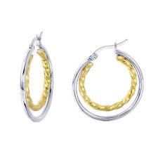 Stainless Steel Two Tone Dual Hoop Earrings