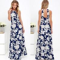 New Summer Women Floral Sleeveless Boho Long Beach Dress Backless Maxi Sundress