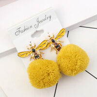 Women's Fashion Lovely Bee Dangle Earrings Winter Drop Pom Pom Ball Ear Jewelry