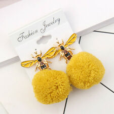 Women's Fashion Lovely Bee Dangle Earrings Winter Drop Pom Pom Ball Ear Jewelry