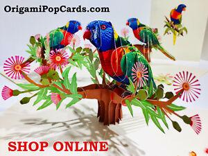 Origami Pop Cards Rainbow Lorikeet Parrot Bird 3D Pop Up Greeting Card Aussie