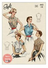 1950's Sleeveless Blouse Sewing Pattern - Bust 36