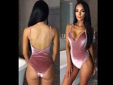 Womens Bandage Backless Bodysuit Leotard Top Stretchy 1 Piece Party Bikini Beach