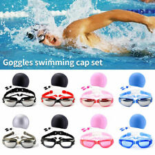 Anti-Fog Uv Protect Clear Swimming Glasses Earplug &Cap Nose Clip Goggles Suit