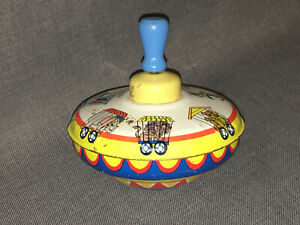 Vintage Ohio Art Spinning Top  -  Circus Train Animals - No.  3048177
