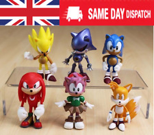 6PC Sonic the Hedgehog Knuckles Amy Tail Metal Action Figures Toy Cake