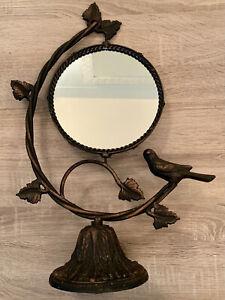"Vintage Iron Swivel Table-Top Vanity Mirror, Bird with Vines Sculpture 19"" x 13"""