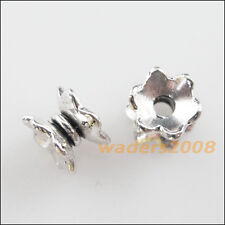 30 New Charms Tibetan Silver Tone Flower Spacer Beads End Caps 5x7mm