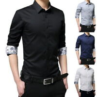 Men's 100% Cotton Long Sleeve Casual T-Shirts Slim Fit Button Down Dress Shirts