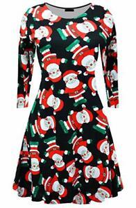 New Womens Christmas swing dress Long Sleeve Santa Ladies Xmas Festive