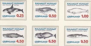 GLD056) Greenland 1996, set of 6, Whales, MUH