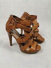 Damas Zapatos Zara Talla 37 Reino Unido 4 con Tiras Tacones Cremallera trasera de cuero marrón