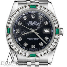 Ladies Rolex 26mm Datejust Black Color Jubilee Dial with Emerald & Diamond Watch