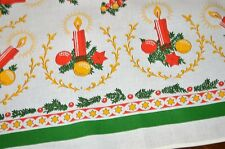 TIME TO DECORATE WITH CANDLES & ORNAMENTS! VTG GERMAN PRINT CHRISTMAS TABLECLOTH