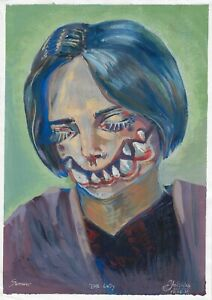 original painting A4 22YV art samovar modern Gouache zombie Signed 2021