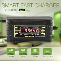SON Genuine Full Automatic Smart 12V 6A Lead Acid/GEL Battery Charger with LCD