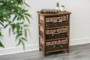 BROWN WICKER CABINET MAIZE DRAWER CHEST BASKET RETRO SHABBY CABINET ASSEMBLED