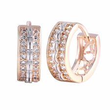 Hoop Huggie Rose Gold / Silver Plated  Earrings Stud Knot Austrian Crystals