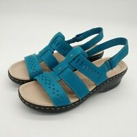 Clarks Womens Lexi Qwin Leather Cut Out Slingback Sandals Turquoise Sz 9M New