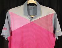 Nike Golf Tour Performance Dri-Fit Mens Short Sleeve Pink Gray Polo Shirt L
