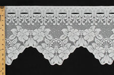 "12"" Ivory Lace Valance Curtain Flowers Ready to Hang Fabric BTY M403.26"
