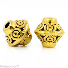 "HX 100PCs Spacer Beads Bicone Gold Tone 7mmx6mm(2/8""x2/8"")"